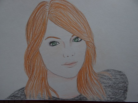 Emma Stone, crayons, 2016 (c) Tyler Rease - Original Picture by Unknown