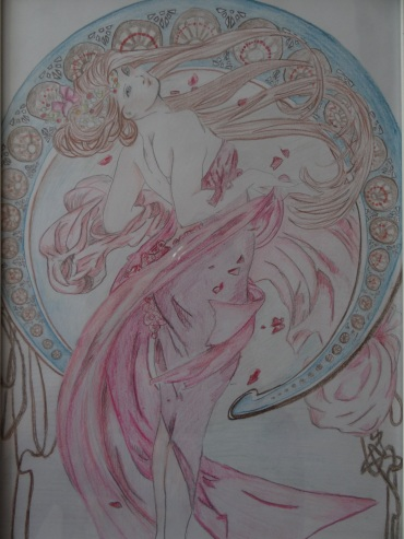 Mucha, crayons, 2015 (c) TYler Rease - Original painting by Mucha